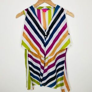 Sunny Leigh Colorful Striped Top Size Small